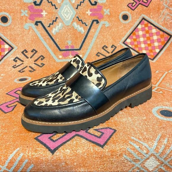 Halogen Emily Black Leather Animal Print Loafer